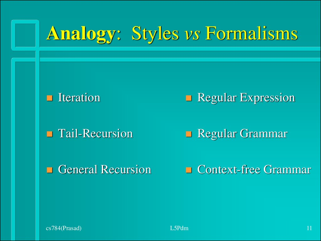 Analogy: Styles vs Formalisms