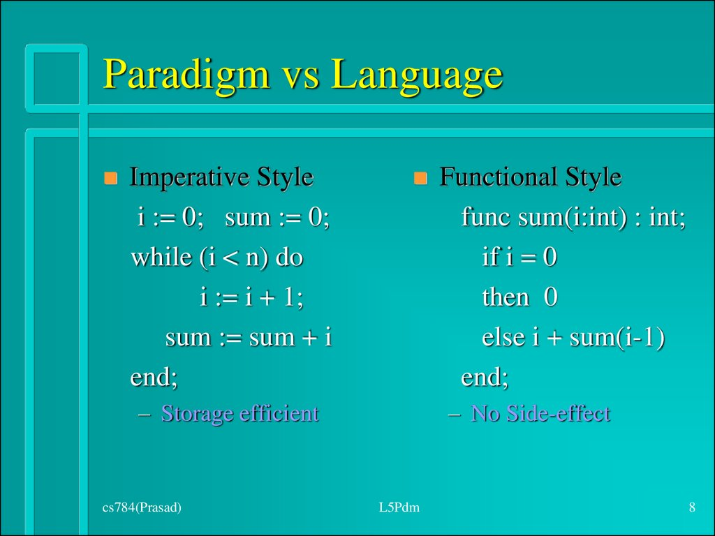 Paradigm vs Language