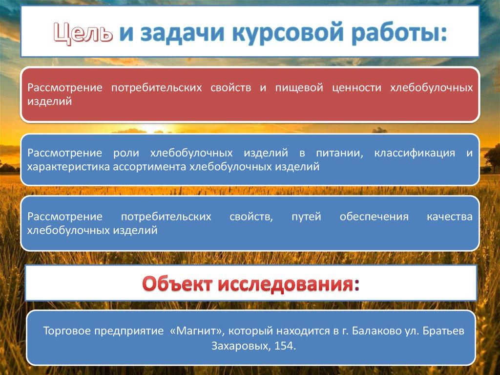 Анализ ассортимента и качества хлеба и хлебобулочных изделий   Цель и задачи курсовой работы