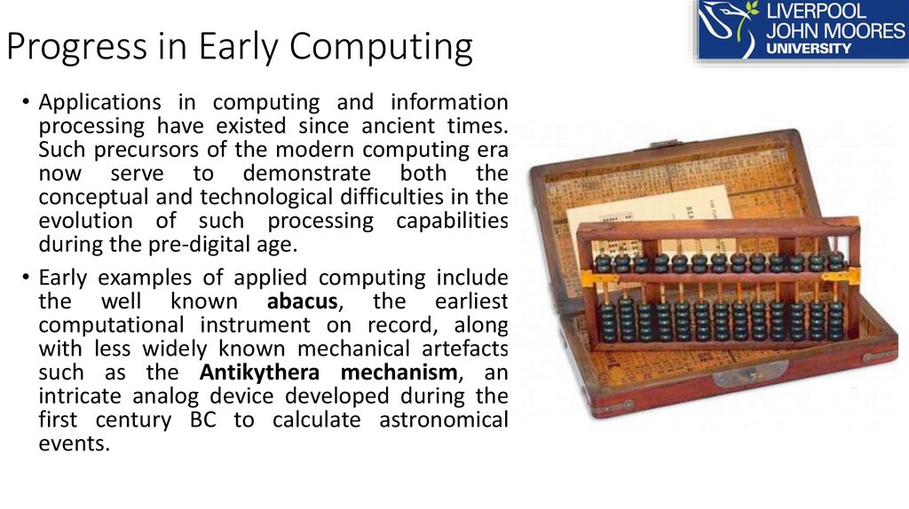 Progress in Early Computing