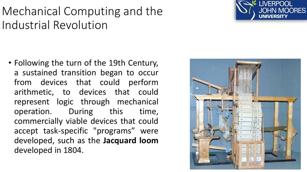 Mechanical Computing and the Industrial Revolution
