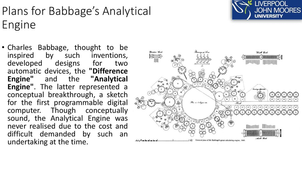 Plans for Babbage's Analytical Engine
