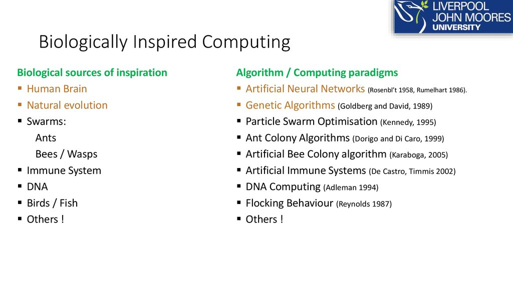 Biologically Inspired Computing