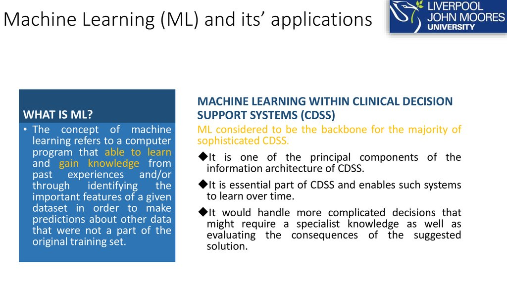 Machine Learning (ML) and its' applications