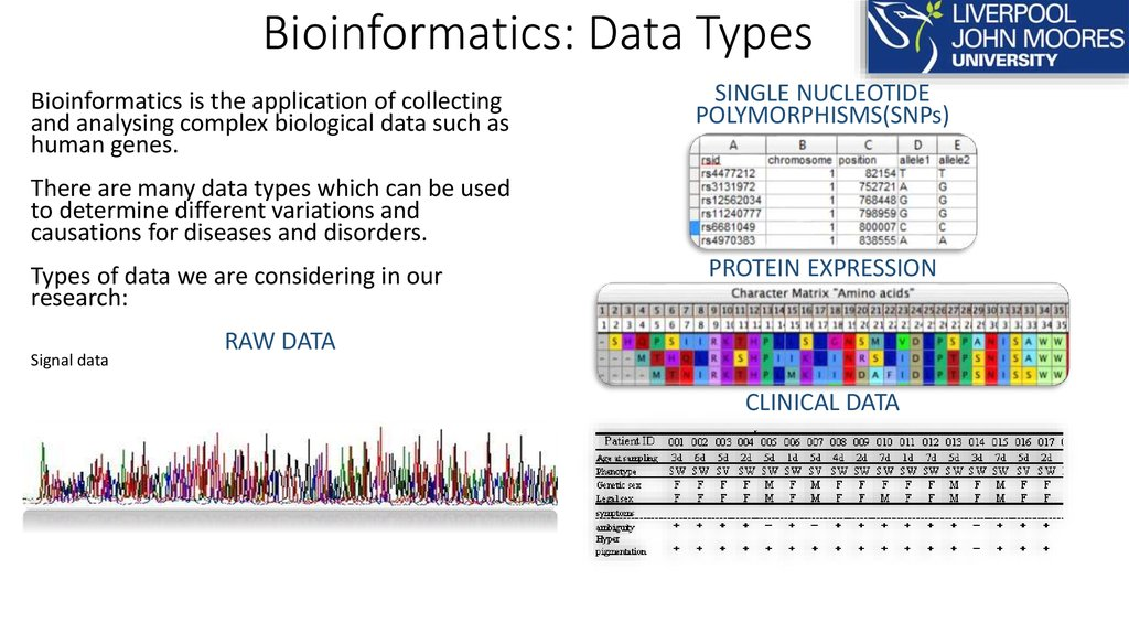 Bioinformatics: Data Types