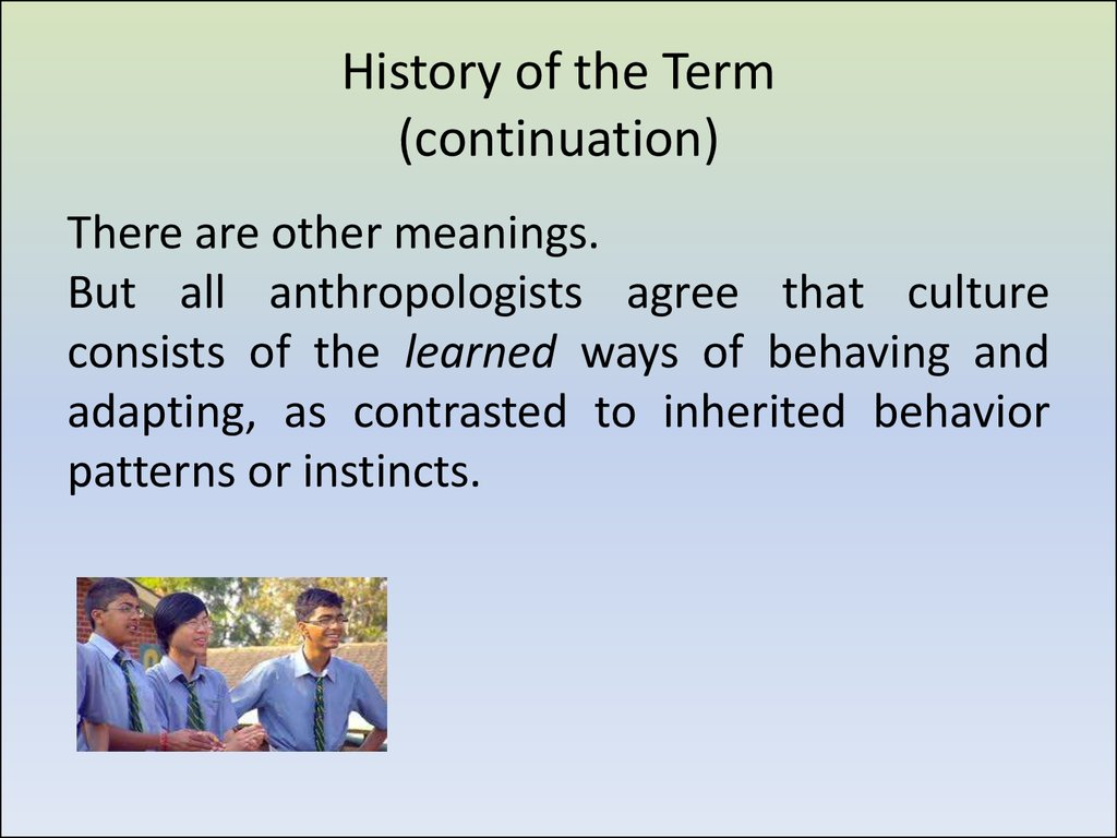 History of the Term (continuation)