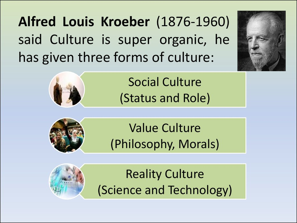 Alfred Louis Kroeber (1876-1960) said Culture is super organic, he has given three forms of culture: