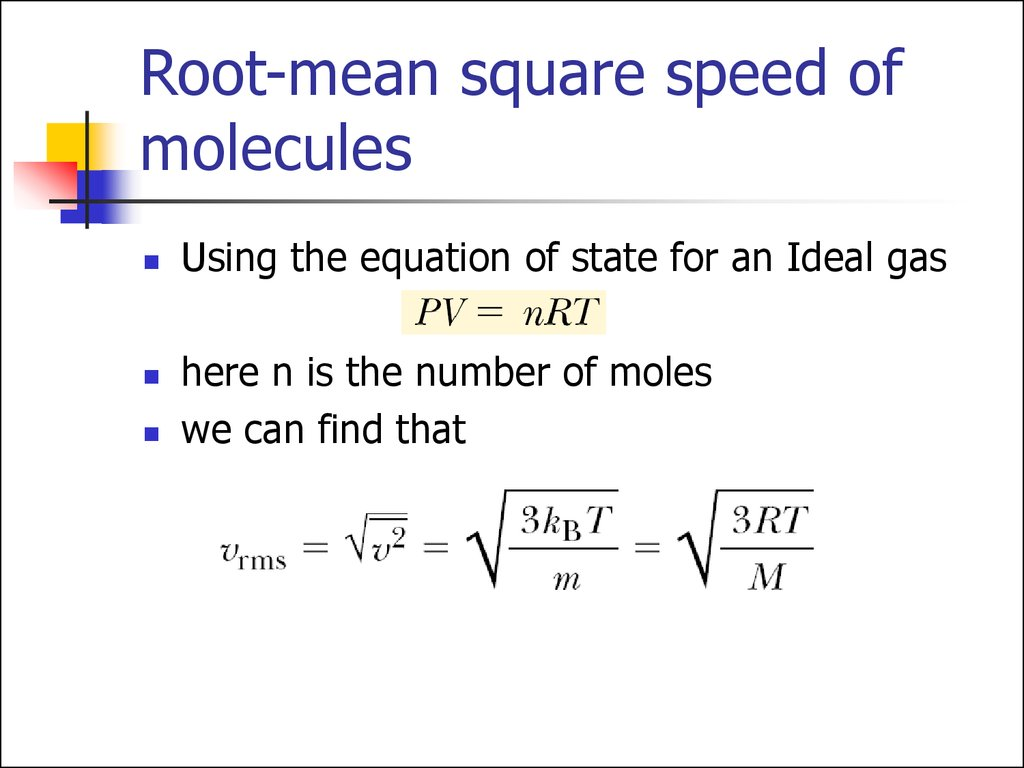 Root-mean square speed of molecules