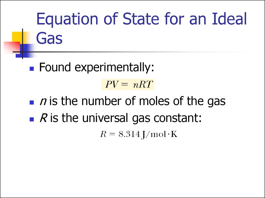 Equation of State for an Ideal Gas