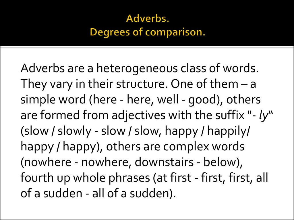 Adverbs Degrees Of Comparison
