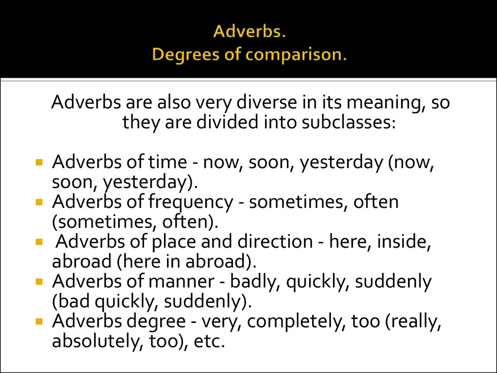 Adverbs Degrees Of Comparison Online Presentation
