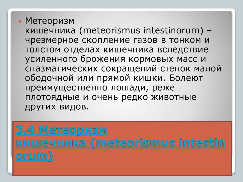 3.4 Метеоризм кишечника (meteorismus intestinorum)