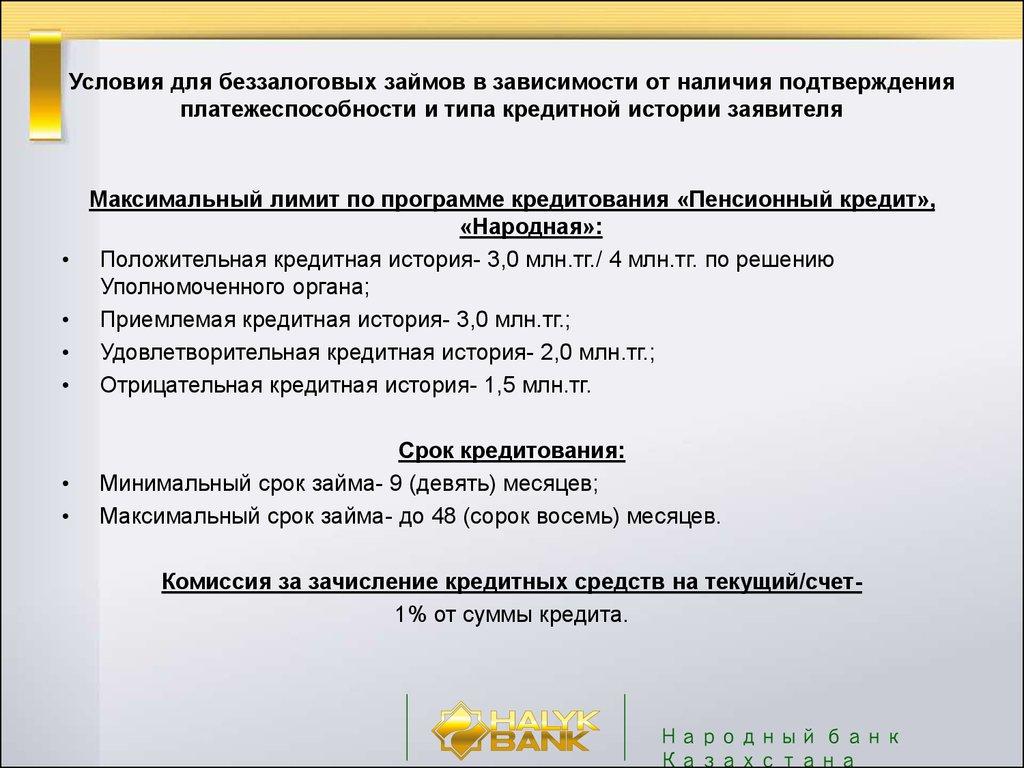 Кредиты халык банка условия