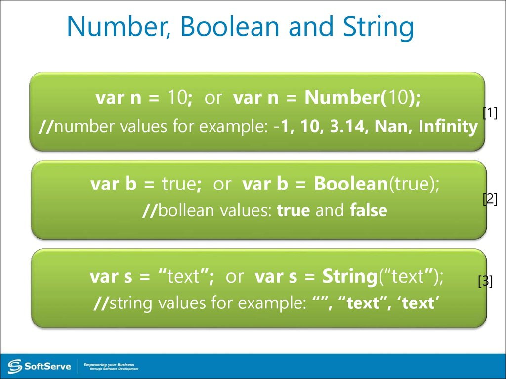 Number, Boolean and String