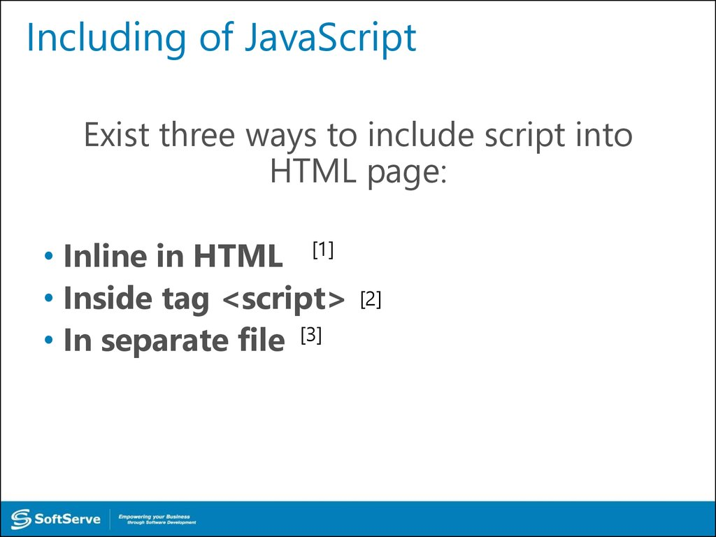 Including of JavaScript