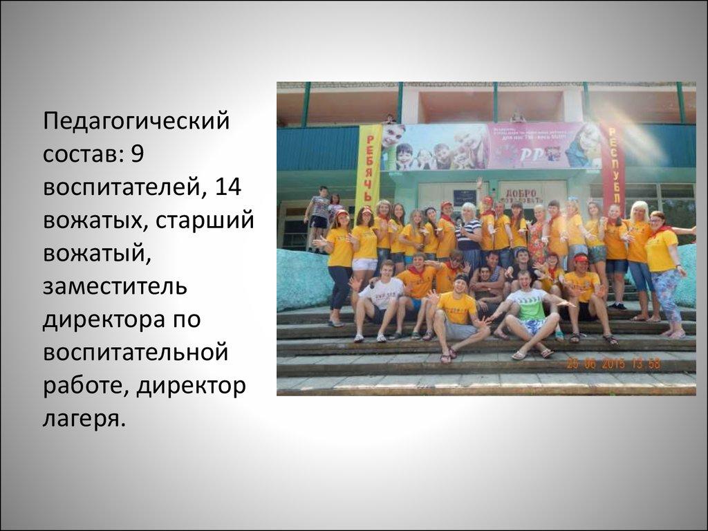 Отчет по летней практике презентация онлайн Педагогический состав 9 воспитателей 14 вожатых старший вожатый заместитель директора по воспитательной работе директор лагеря