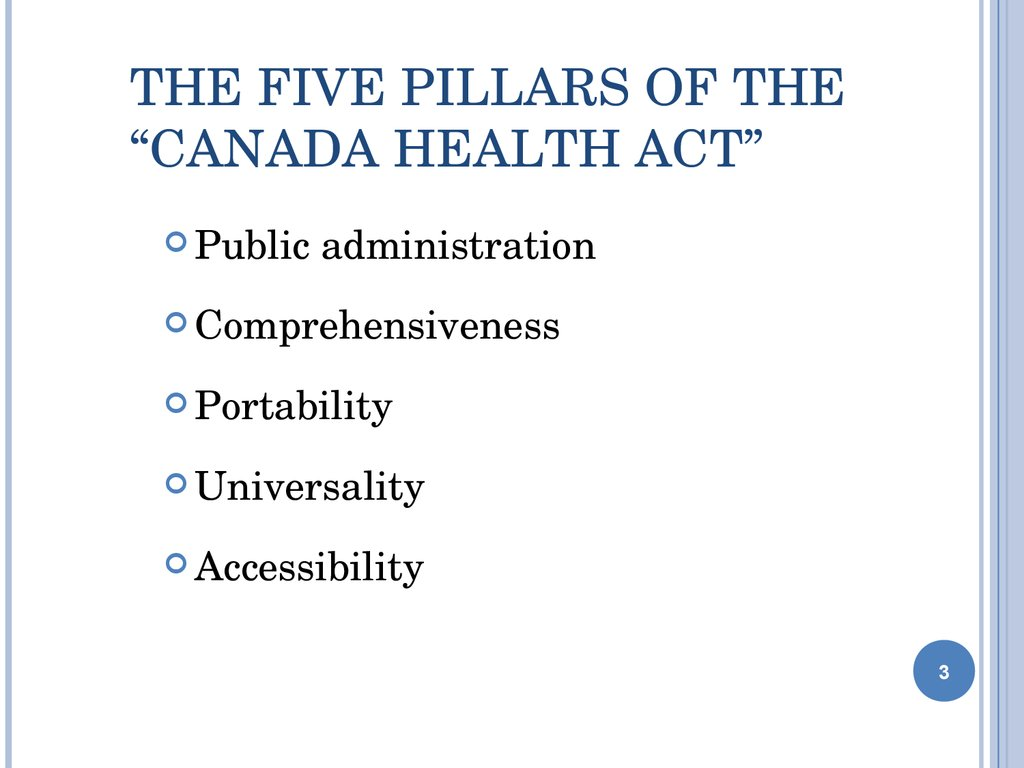 "The Five Pillars of the ""Canada Health Act"""