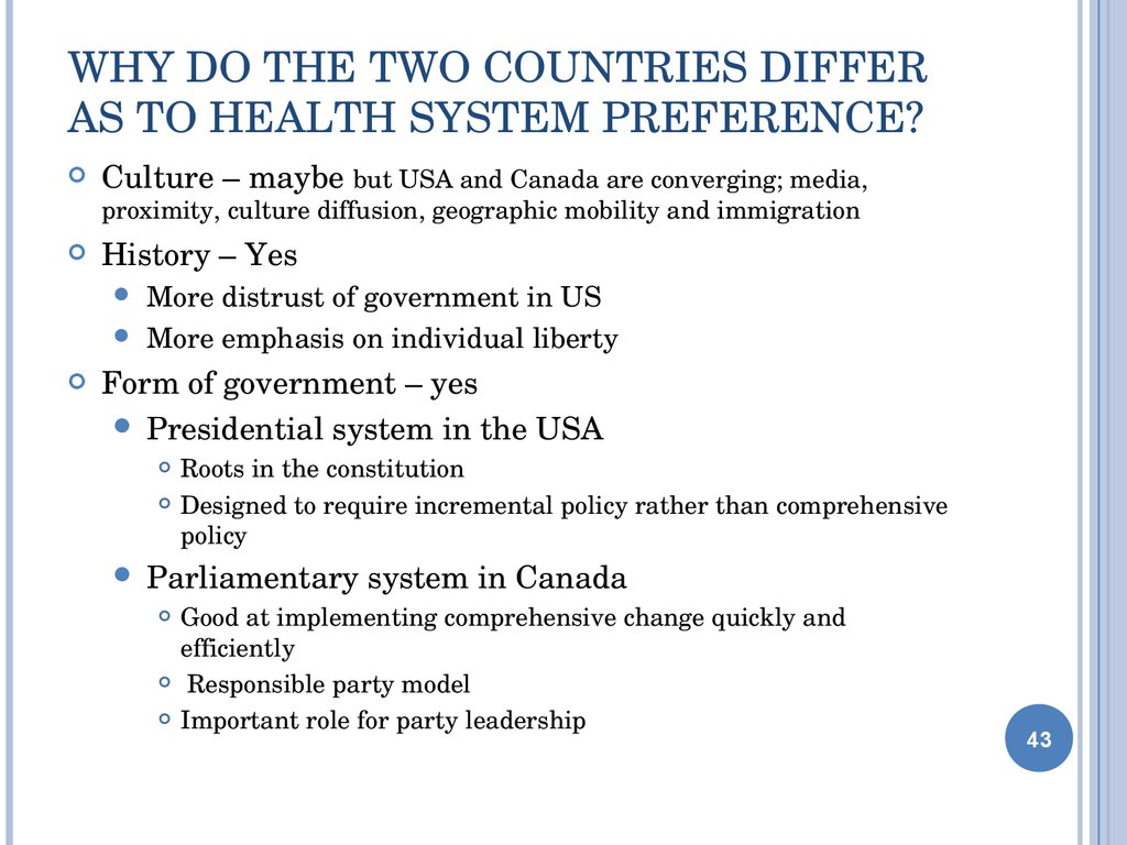 Why do the Two Countries differ as to Health system preference?