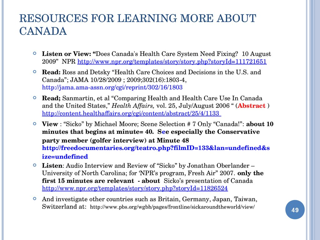 Resources for Learning more about Canada