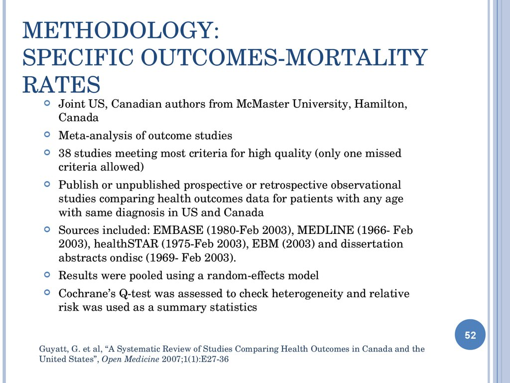 Methodology: Specific Outcomes-Mortality Rates
