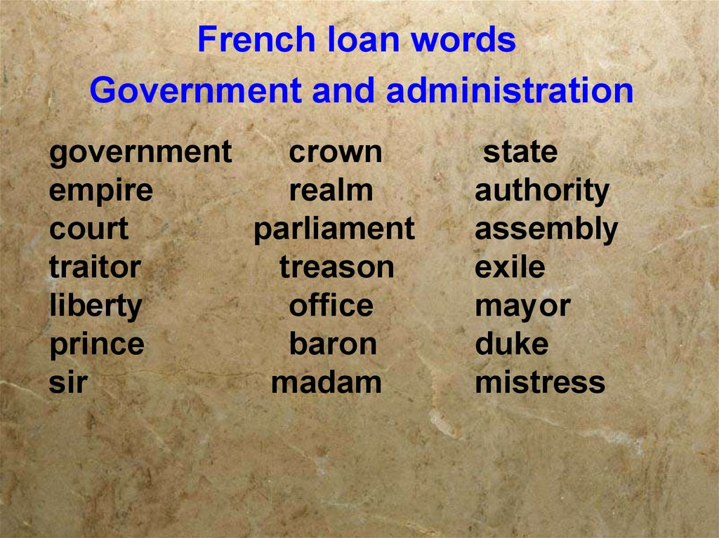 French loan words Government and administration