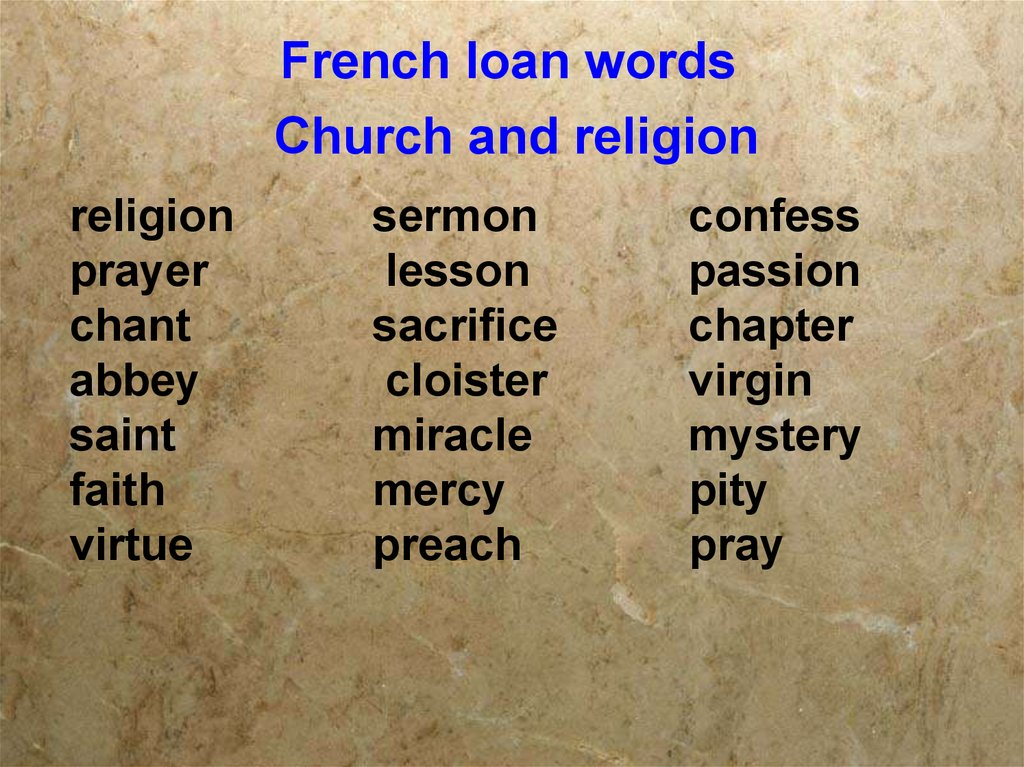 French loan words Church and religion