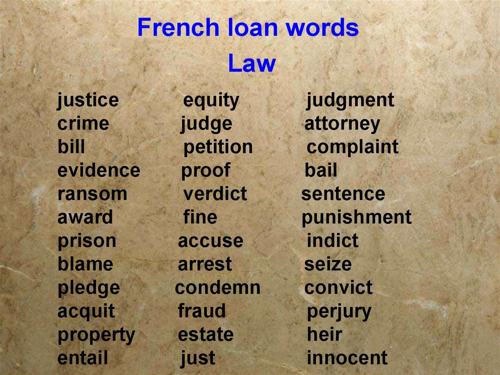 French loan words Law