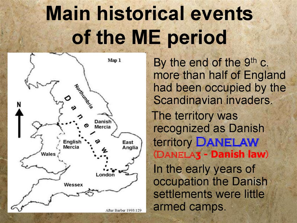 Main historical events of the ME period