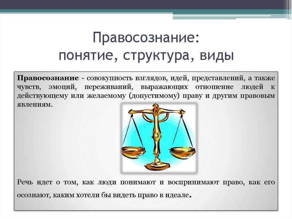 Шпаргалка виды. правосознание структура, понятие,