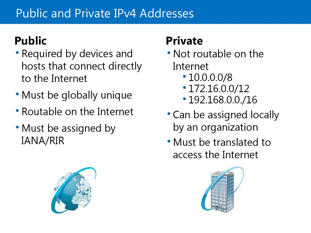 Public and Private IPv4 Addresses