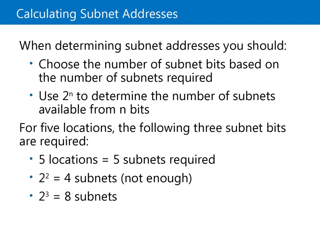 Calculating Subnet Addresses