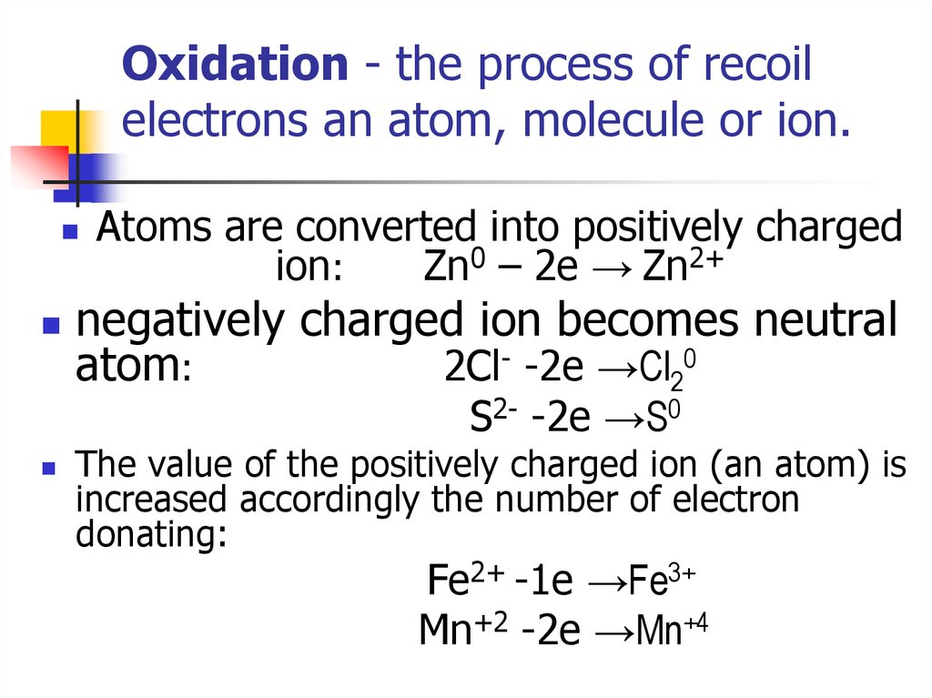 Oxidation - the process of recoil electrons an atom, molecule or ion.