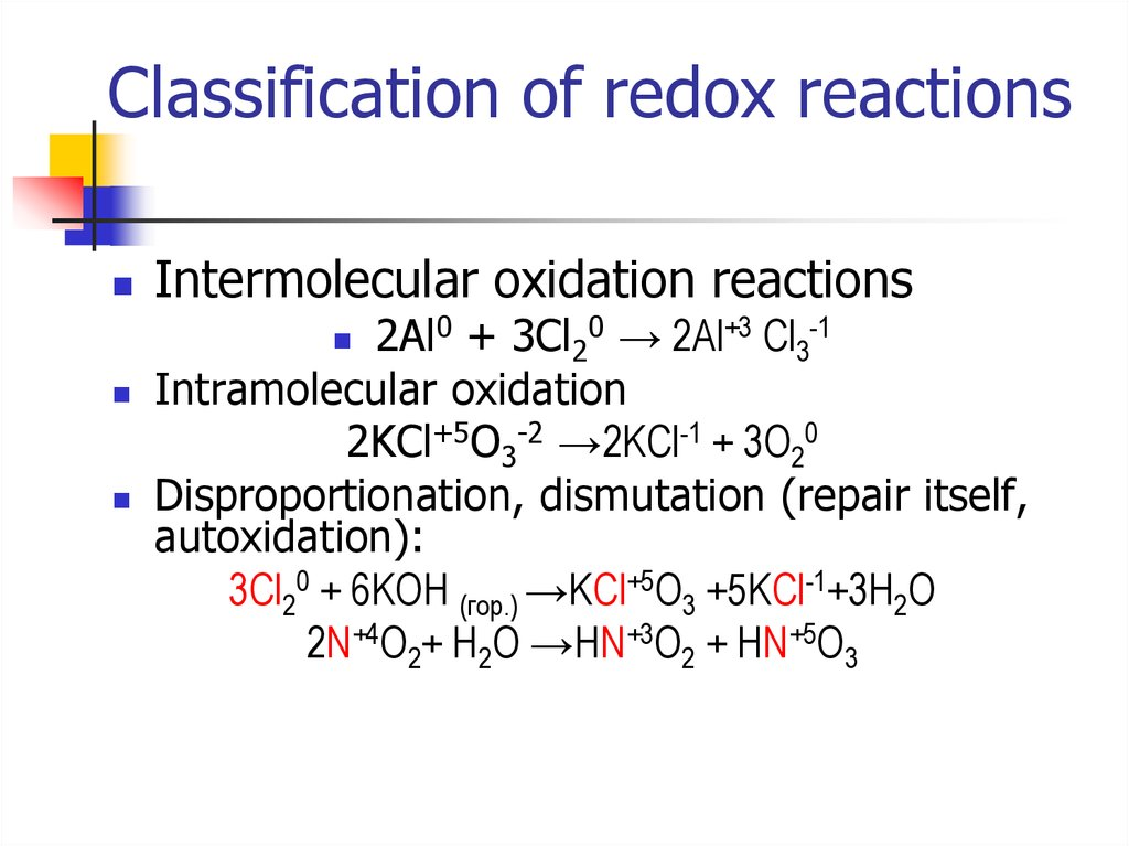 Classification of redox reactions