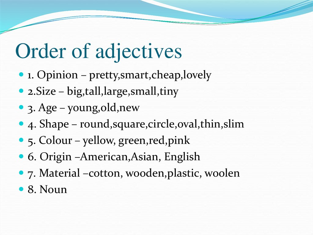 Order Of Adjectives Online Presentation
