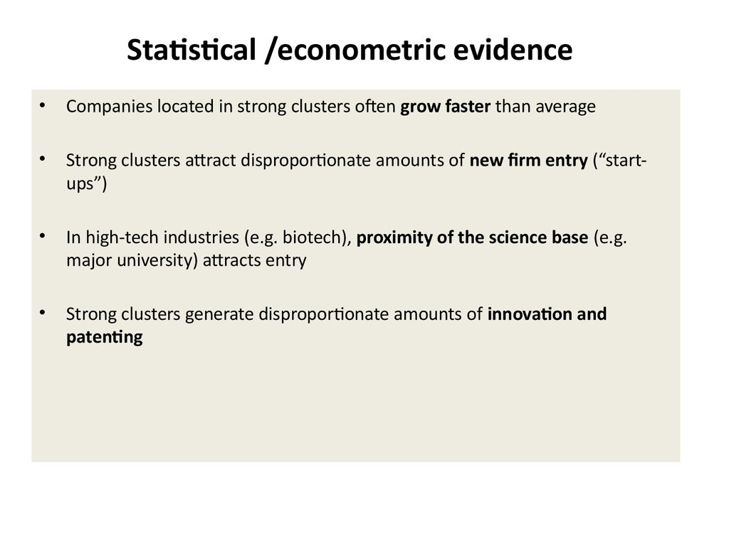 Statistical /econometric evidence