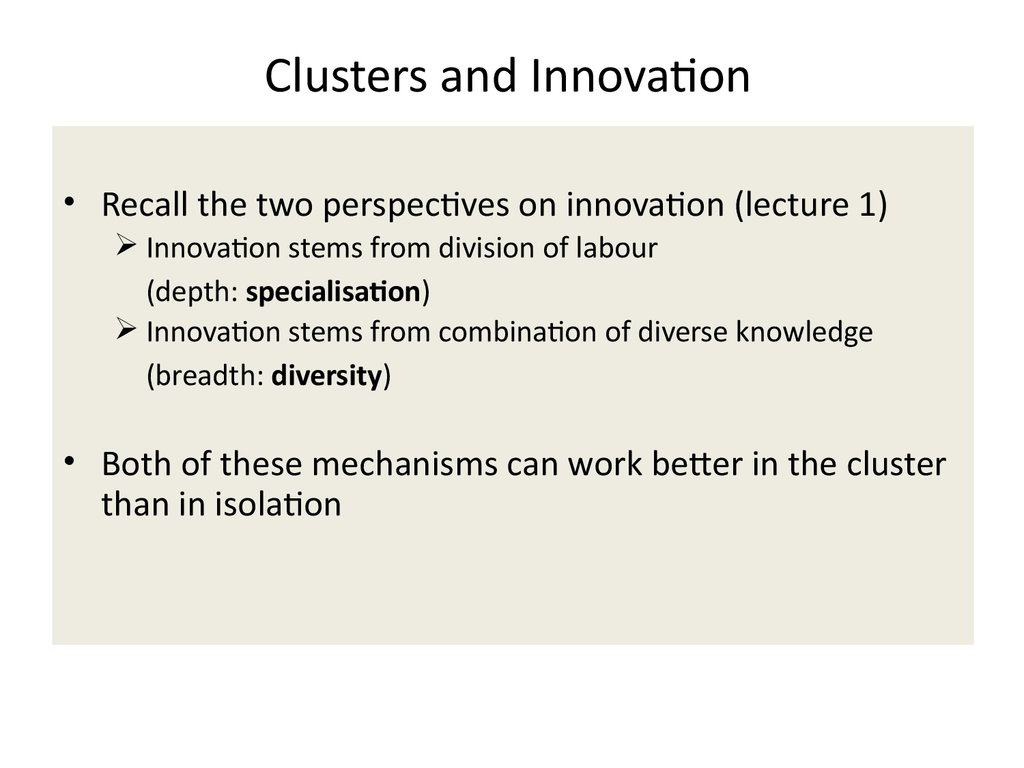 Clusters and Innovation