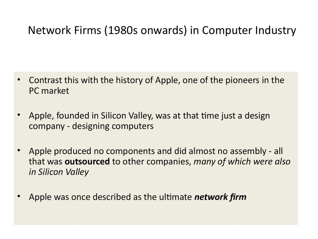 Network Firms (1980s onwards) in Computer Industry