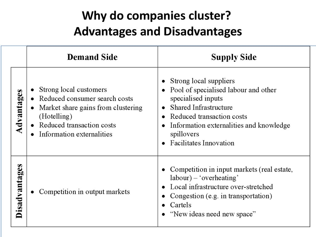 Why do companies cluster? Advantages and Disadvantages