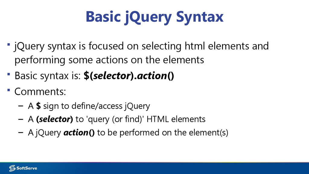 Module 9 - jQuery - online presentation