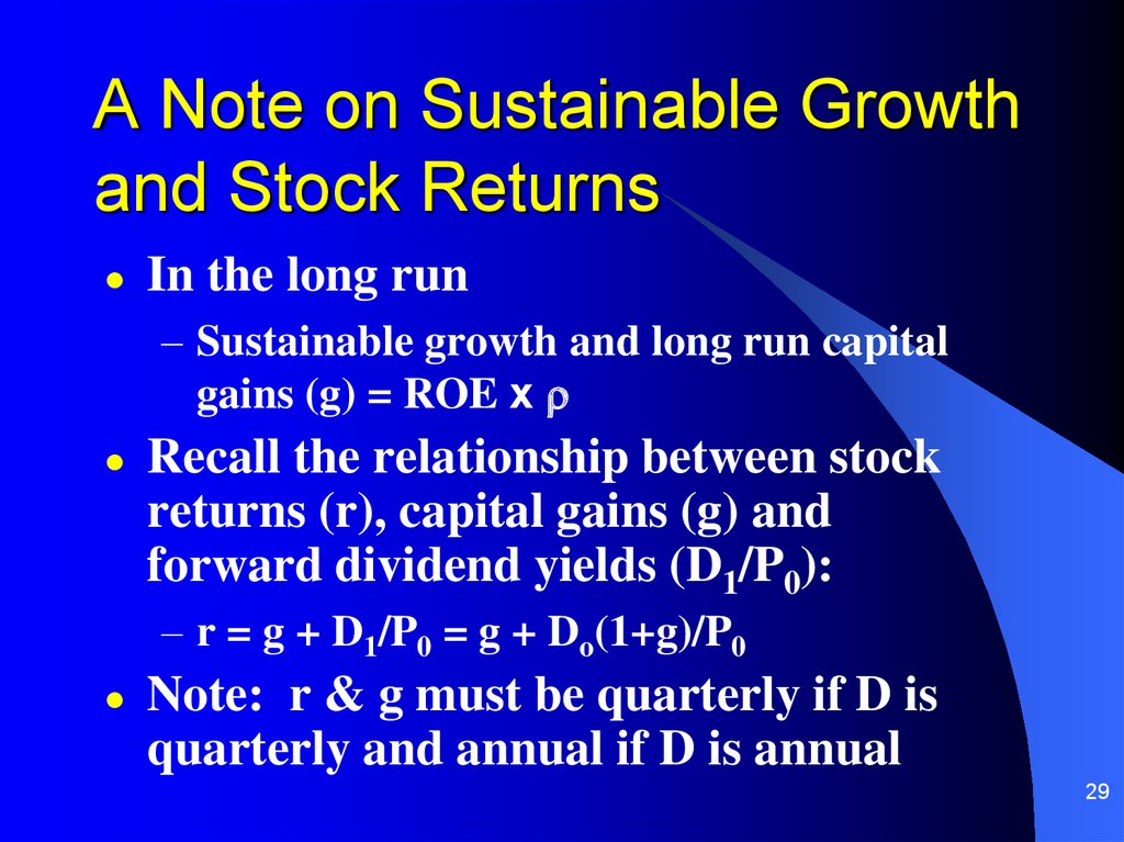 A Note on Sustainable Growth and Stock Returns