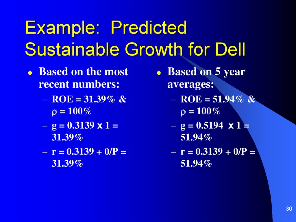 Example: Predicted Sustainable Growth for Dell