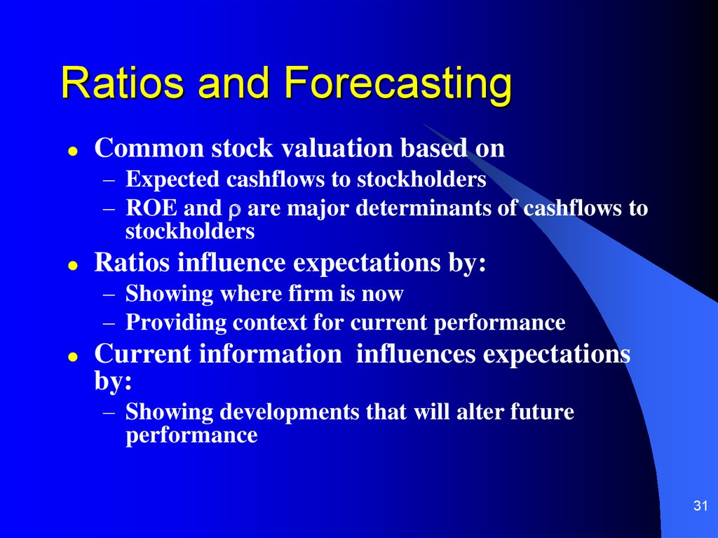 Ratios and Forecasting