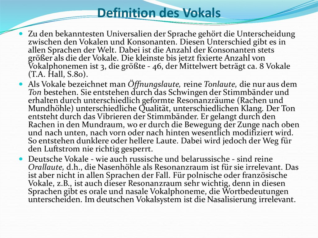 Definition des Vokals