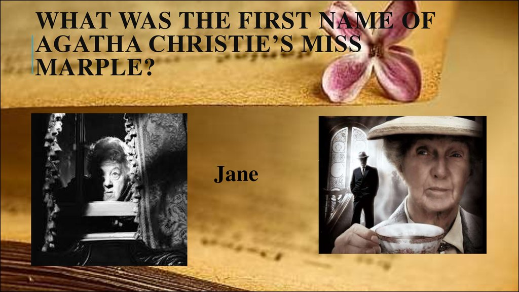 What was the first name of Agatha Christie's Miss Marple?