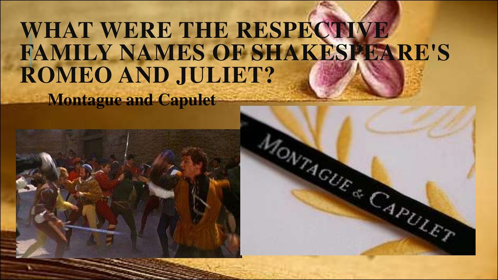 What were the respective family names of Shakespeare's Romeo and Juliet?