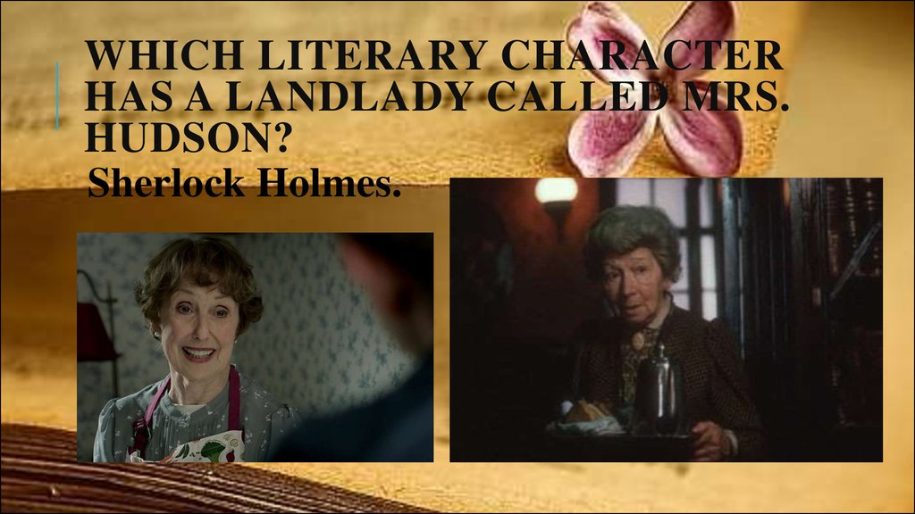 Which literary character has a landlady called Mrs. Hudson?