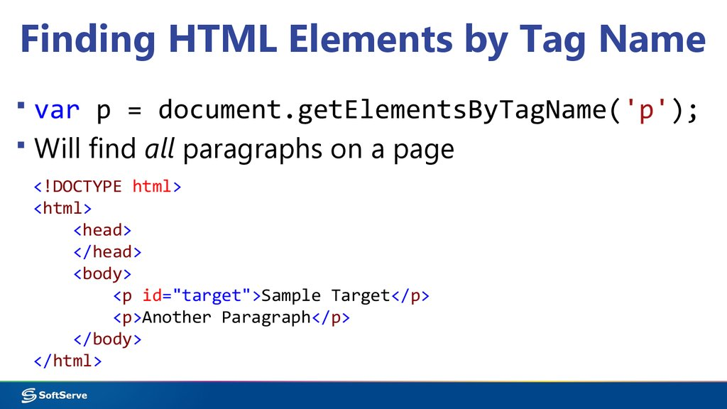 Finding HTML Elements by Tag Name