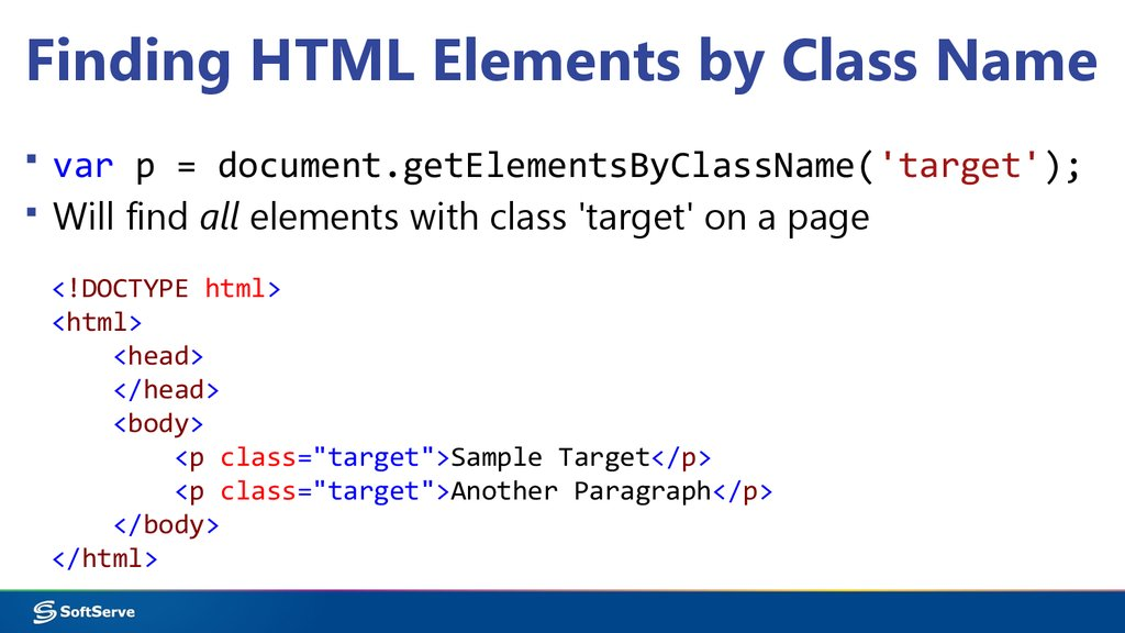 Finding HTML Elements by Class Name