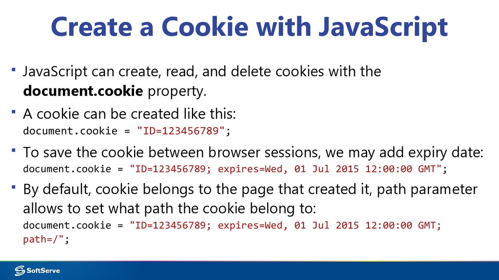 Create a Cookie with JavaScript