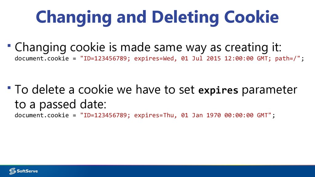 Changing and Deleting Cookie